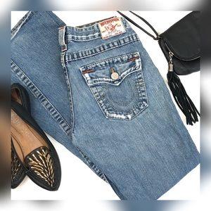 True Religion Joey Twisted Seam Flare Light Jeans